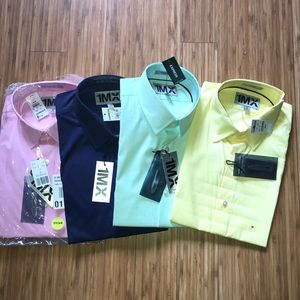 Express 1MX fitted long sleeve dress shirts